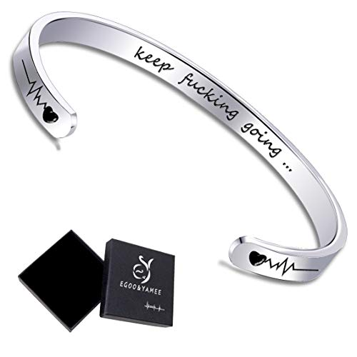 EGOO YAMEE Inspirational Bracelets for Women Engraved Personalized Mantra Cuff Bangle 'Keep Going' - Bangle Engraved Bracelet