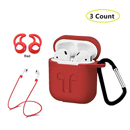 AC Parts AirPods Case Protective Silicone Cover with 2 Ear Hook , 2 Anti-loss Strap, 1 earphone bag for Apple Airpods Charging Case - Policy Return Macys