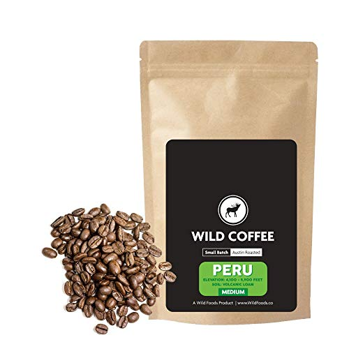 Wild Coffee, Organic Austin Roasted Small-Batch Whole Bean, 100% Arabica, Fair Trade, Single-Origin, Low Acid, Grade 1 (Peru Medium Roast, 12 ounce)