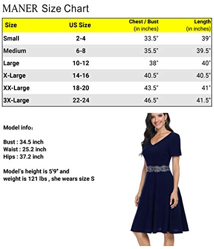 MANER Women's V Neck Short Sleeve Cocktail Party Prom Wedding Guest A-Line Dress