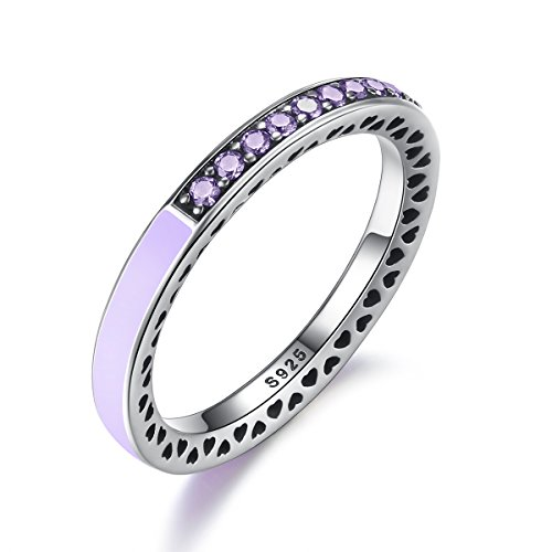 BAMOER 925 Sterling Silver Lavender Eternity Ring Micro Sparkling Purple Crystal Stackable Ring For Women Teen Girls Purple Ring (6)