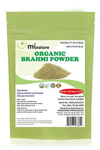 mi nature Organic Brahmi Leaves Powder (Bacopa Monnieri) - 227 g / 8 OZ / 1/2 lb | 100% Natural & Pure Hair Conditioner | Vegan