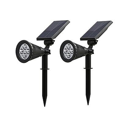 Xinmax Solar Spotlights 2 in 1 Waterproof 4 LED Safety Outdoor Adjustable Wall Light Landscape Light for Pool Walkway Driveway Balcony Patio Garden(2 park)