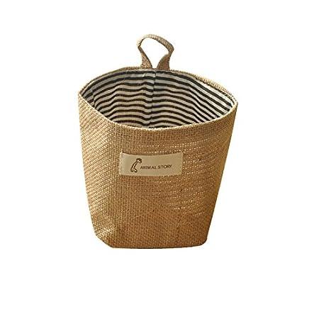 ICEBLUE Jute Wall Door hanging Storage Bag Case Basket Home Organizer Bin Decor (blue dots) The Best Time