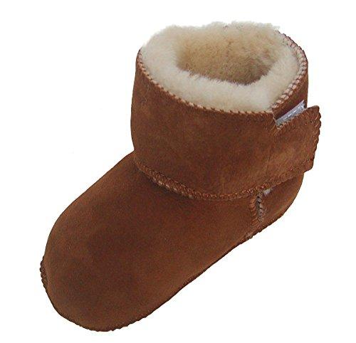Heitmann Warme Baby Lammfell Boots mit Klettverschluss Camel, Gerbung Ohne schädliche Stoffe, Gr. 16-17 Braun
