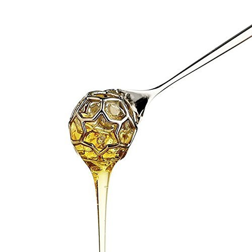 (Honey Dipper Acacia by Alessi. Designed by Miriam Mirri. Designer Metal Honey Dipper. Stainless Steel, Mirror Polished Honey Stirrer. Cool Present for Honey Lovers.)