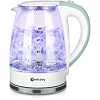COOK JOY 1.8L Water Kettle, 1500W BPA- Free Electric Glass Tea Kettle with LED Illumination, Heat-Resistant Borosilicate Glass, Safety Non-Toxic
