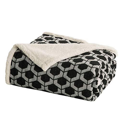 Bedsure Sherpa Throw Blanket for Bed, Sofa and Couch - Geometric Patterned Blankets and Throws - Soft & Cozy Blanket - Black/White, 50