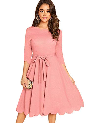 (Milumia Women's Elegant Party Cocktail Prom 3/4 Sleeve Belted Scallop Dress Pink)