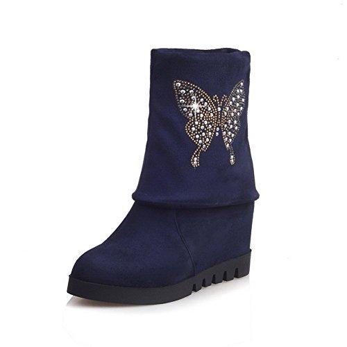 AllhqFashion Mujeres Cuña Caña Alta Sólido Sin cordones Botas con Diamante Azul