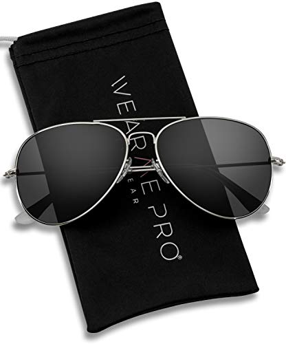 WearMe Pro - Polarized Metal Frame Pilot Style Aviator Sunglasses (Silver Frame/Black Lens, 60)