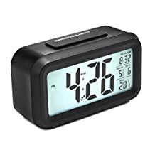 Digital Alarm Clock, Arespark Smart Simple and Silent Bedroom Alarm Clock with Date and Temperature Display- Snooze and Large Display- Smart Night Light(white Backlight)- Battery Operated Home Alarm Clock and Travel Alarm Clock.(black)