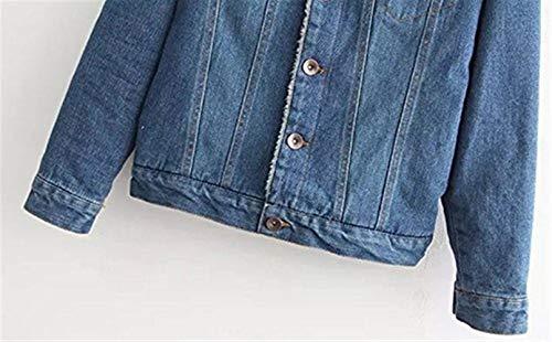 Jeans Alla Button Tasche Termico 2 Outerwear Casual Spesso Con Velluto Invernali Style Hot Dunkelblau Autunno Cappotto Moda Denim Lunga Eleganti Giubbino Festa Bavero Jacket Donna Manica OYUHxqt