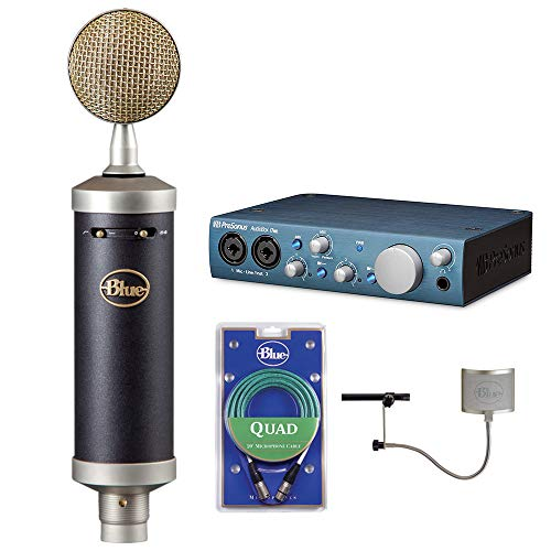 Blue Kiwi Microphone Cable - Blue Baby Bottle SL Studio Condenser Microphone with PreSonus AudioBox Recording Interface, Quad Cable & Blue The Top Windscreen Bundle