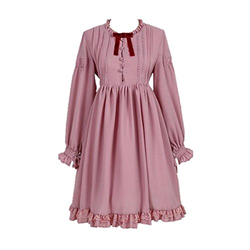 - Women's Lolita Dress Japanese Style Lantern Sleeve Sweet Cosplay Pleated Dresses (Pink, M)