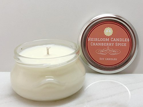 Cranberry Spice Scented Soy Candle in Glass Jar, Handmade - 6oz