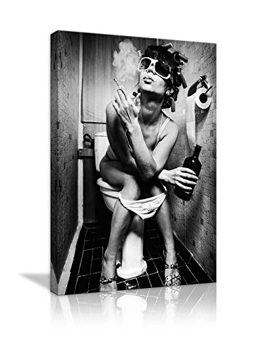 AMEMNY Black and White Sexy Woman Beauty Canvas Print Modern Bar Girl Smoking and Drinking in Restroom Painting Picture Poster Decor for Bedroom Framed Ready to Hang