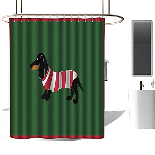 coolteey Shower Curtains Brown Grey Dachshund,Abstract Canine Cartoon Design Dachshund Puppy in Stripped Shirt Funny Character,Multicolor,W48 x L72,Shower Curtain for Shower stall