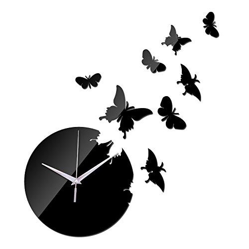 Acrylic Mirror Traveler (EverTrust(TM) direct selling Acrylic Quartz wall watch the butterfly mirror clocks 3d Modern home decoration diy clock gift)