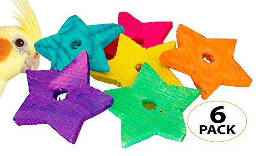 (Bonka Bird Toys 1151 PK6 Medium Wood Stars Parrot Foot Craft Talon Cage Part Toy )