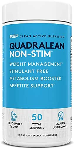 RSP Nutrition QuadraLean - Stimulant Free Weight Management, Metabolism Booster, Energy & Appetite Support - CLA, L-Carnitine, Green Tea Extract, Non-Stim Formula, 50 Serv (Packaging May Vary)