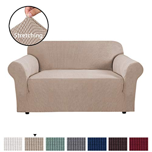H.VERSAILTEX 1 Piece Sofa Cover for Loveseat Machine Washable Jacquard Spandex Sofa Slipcover Furniture Cover/Protector for 2 Cushion Couch, Soft Stretch Skid Resistance Couch Cover, Sand