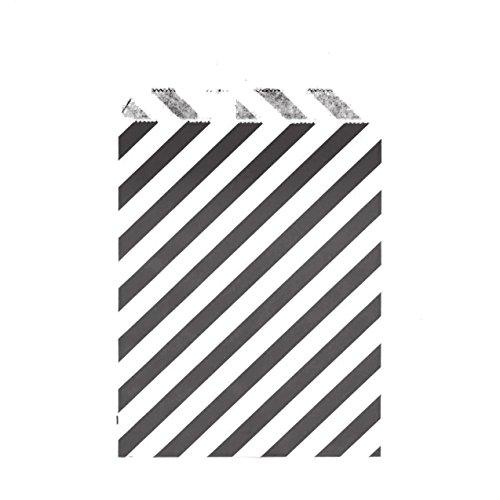 100CT Medium Diagonal Stripe Black Biodegradable, Food Safe Ink & Paper Cookie Bag, Eco-friendly Favor Bag, Treat Bag (Diagonal Stripe Medium, Black)