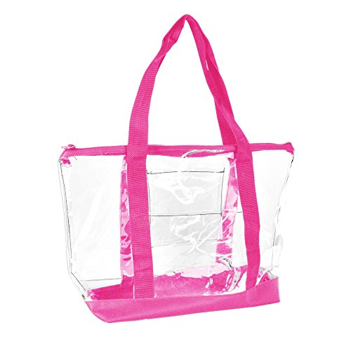 DALIX Clear Shopping Bag Security Work Tote Shoulder Bag Womens Handbag (Hot Pink) ()