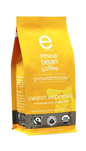 Ethical Bean Coffee Sweet Espresso: Medium Dark Roast Ground Espresso - USDA Certified Organic Coffee, Fair Trade Certified - 8 ounce bag
