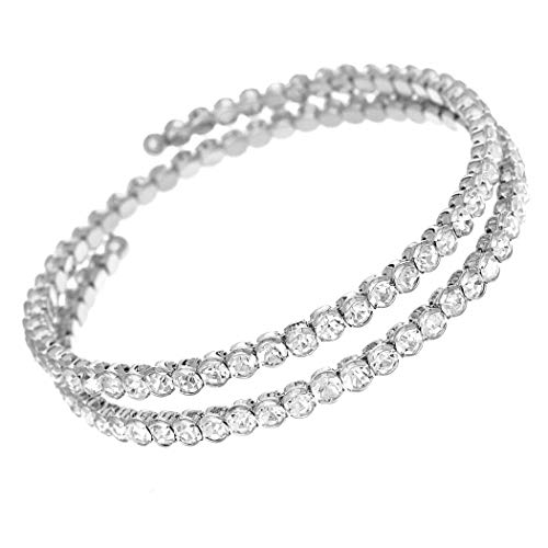Rosemarie Collections Women's Comfort Flex Double Row Crystal Coil Bangle - Coil Bracelet Row