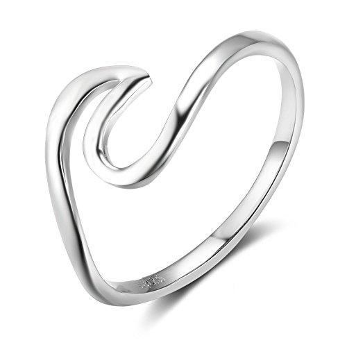 (925 Sterling Silver Ocean Wave Ring for Women Girls Size 7)
