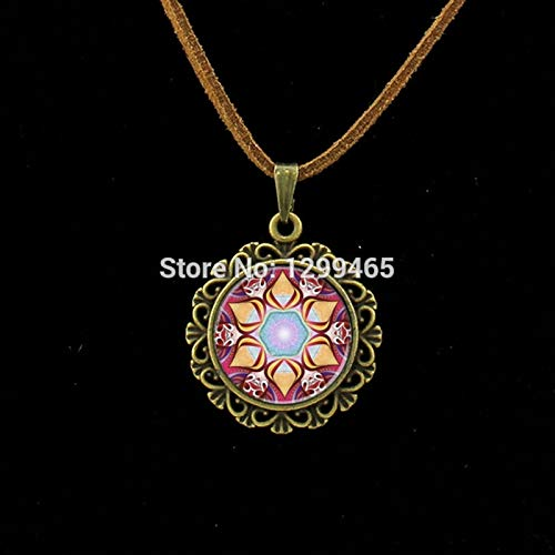 Choker Necklaces - Mandala Necklace,Art Glass Dome Leather Necklace Vintage Flower Henna Tattoo Purple Mandala Buddhism Jewelry Yoga Pendant L 194 - by Mct12-1 PCs