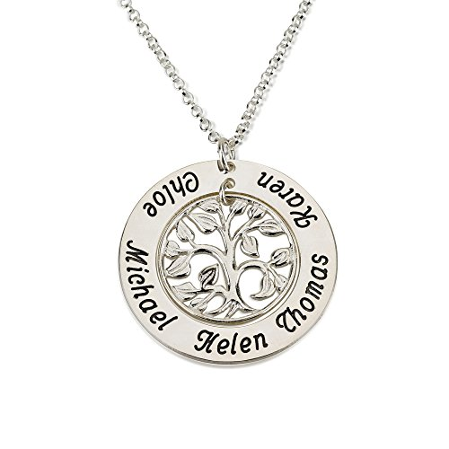 Family Tree Necklace- Family Silver Name Necklace Custom Made with up to 5 Names (18 Inches)
