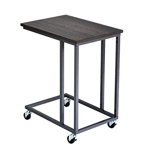 Rolling Multiple Stand Desk Notebook Beside Laptop Holder Functional Sofa Side End Mobile Table - Grey with Ebook