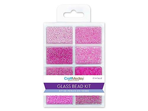 Bugle Glass Bead Kit - CraftMedley Glass Bead Kit, 45g, Rocailles/Seed/Bugles, Blush