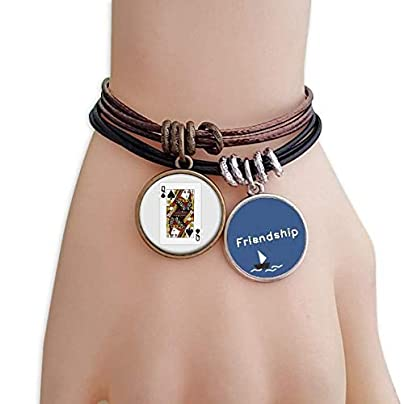 YMNW Playing Cards Spade Pattern Friendship Bracelet Leather Rope Wristband Couple Set Estimated Price -