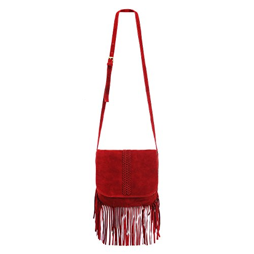 ZLYC Women Bohemian Nubuck Leather Fringe Bag Pouch Tribal Tassel Cross Body Shoulder Bag -