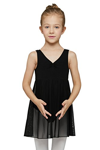 (Empire Skirted Leotard Dress for Girls by Mdnmd (Tag 130) Age 6-8, Black))