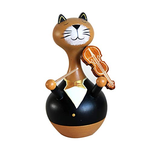 Uplord Music Box,Wooden Playing The Piano Cat Music Box Christmas Birthday Gift Party Decoration ()