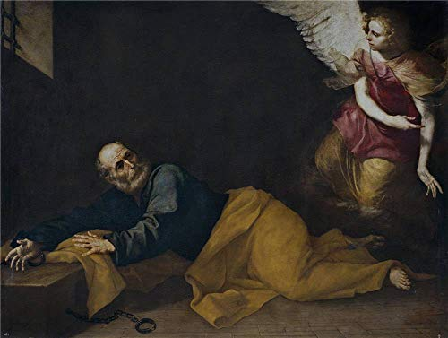 High Quality Polyster Canvas ,the Imitations Art DecorativePrints On Canvas Of Oil Painting 'Ribera Jose De San Pedro Libertado Por Un Angel 1639 ', 10 X 13 Inch / 25 -