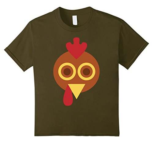 [Kids GIANT TURKEY FACE T-Shirt Funny THANKSGIVING Holiday Costume 12 Olive] (Giant Olive Costume)