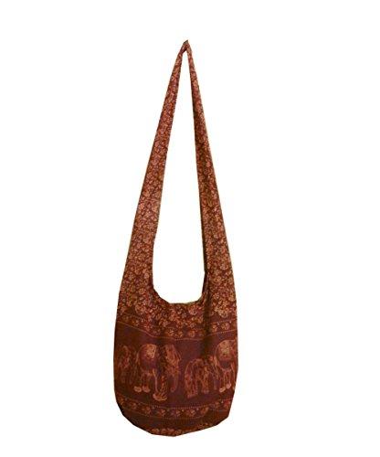 BTP! Elephant Floral Print Sling Crossbody Shoulder Bag Purse Hippie Hobo Thai Cotton Gypsy Bohemian Large (Wine EEL8)