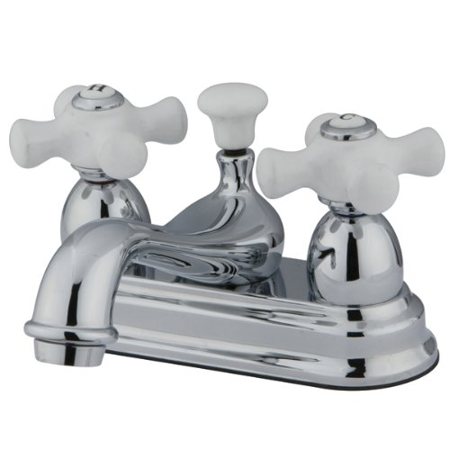 (Kingston Brass CC20L1 Vintage 4-Inch Centerset Lavatory Faucet, H&C Porcelain Cross Handle, Polished)