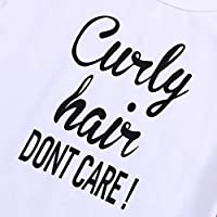 Kids Toddler Baby Girls Boys Curly Hair Dont Care Print Summer White T-Shirt Tops Outfit