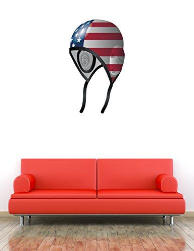 USA Flag Water Polo Cap Sport Art Wall Decor Sticker 15'' X 25''
