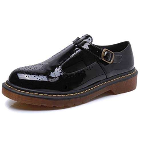 Women's Perforated T-Strap Buckle Oxfords Wingtip PU Leather Low Heel Vintage Mary Jane Shoes Black