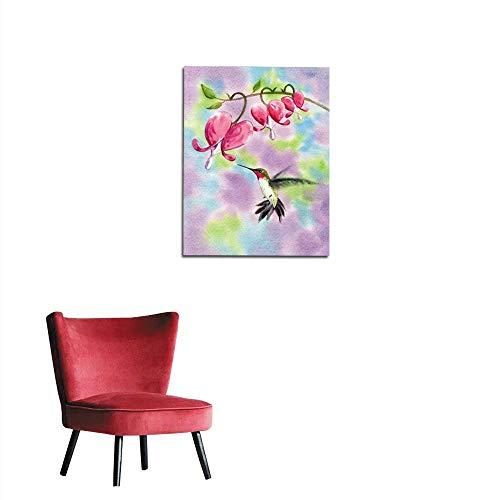 longbuyer Wall Paper Hummingbird and Heart Shaped Flowers Mural 20