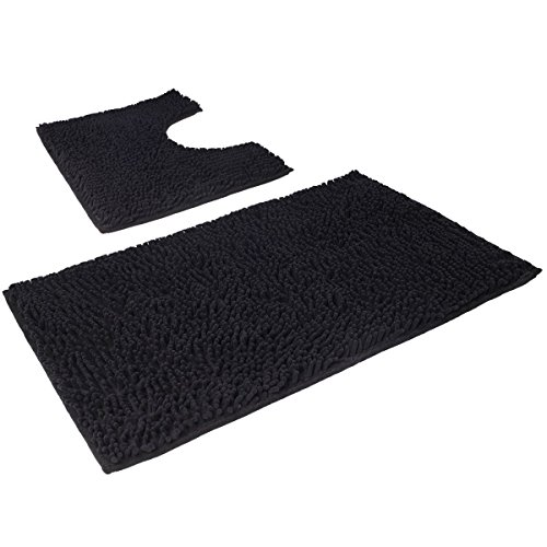 VDOMUS Microfiber Bathroom Contour Rugs Combo, Set of 2 Soft Shaggy Non Slip Bath Shower Mat and U-shaped Toilet Floor Rug (Black) (32 Piece Display)