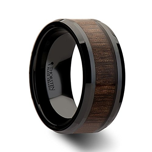 YUKON Black Ceramic Wedding Ring with Walnut Wood Inlay and Polished Beveled Edges Comfort Fit Lightweight Durable Wooden Wedding Band - 10mm by Thorsten Rings