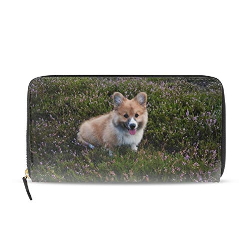 - Welsh Corgi Women's Checkered Zip Around Wallet and Phone Clutch Card Holder Organizer